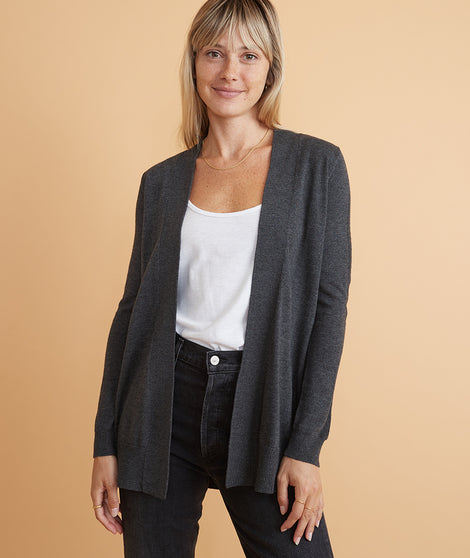 Mae Cardigan in Charcoal Heather