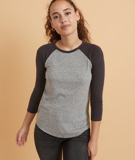 Double Knit Baseball Raglan in Heather Grey/Black