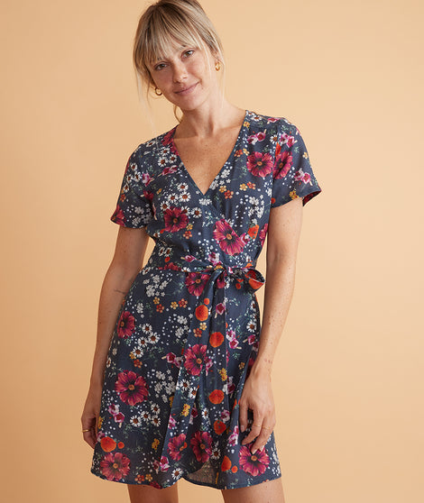 Frances Wrap Dress Eclipse Floral Print