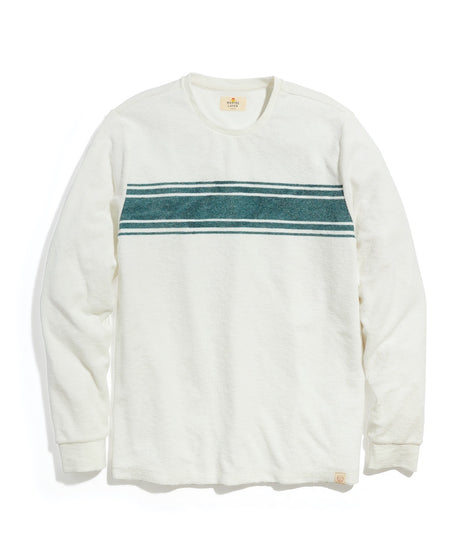 Terry Out Crewneck Sweatshirt in Natural Chest Stripe