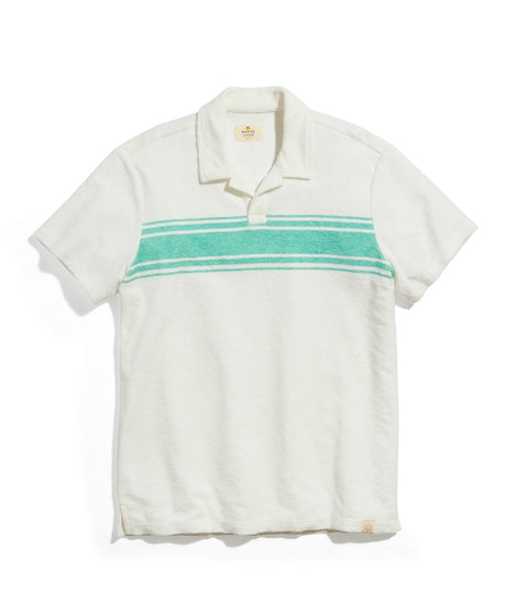 Terry Out Polo in White/Green Chest Stripe
