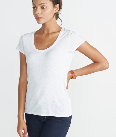 Slub U-Neck Tee- White