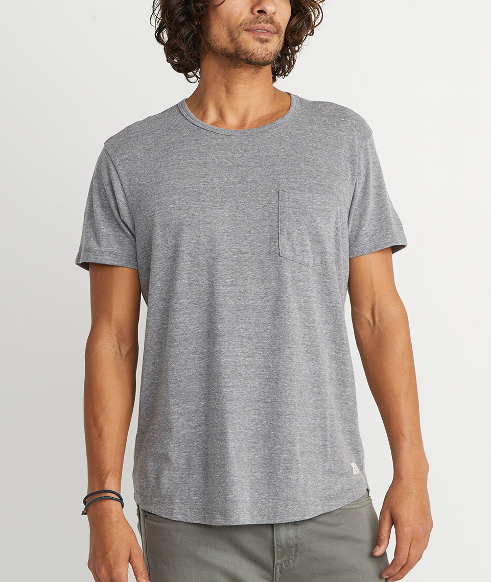 Saddle Pocket Tee in Heather Grey
