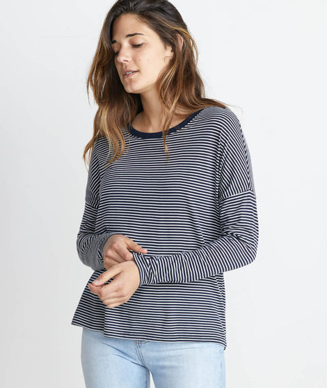 Valerie Longsleeve in Navy/White