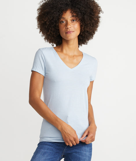 V-Neck in Faded Denim Stripe