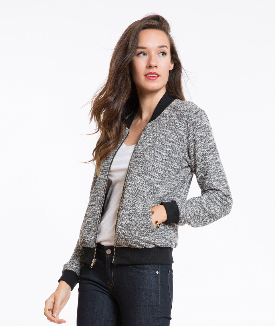 Tweed Pippa Bomber - Charcoal