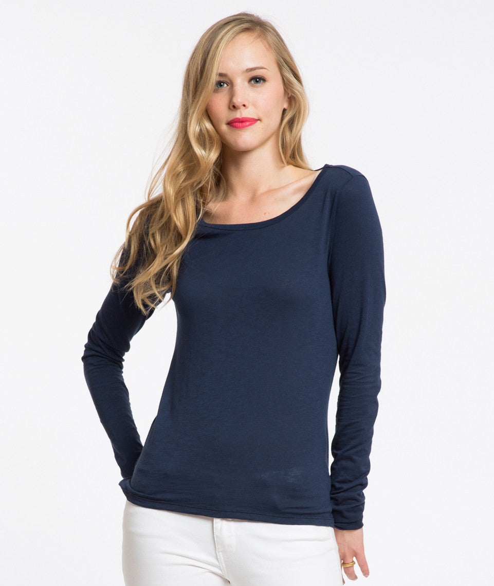 Longsleeve Hi-Low Crewneck - Mood Indigo