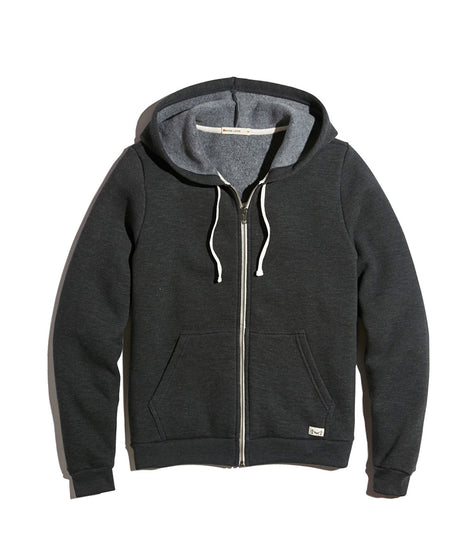 Women's Sherpa Zip Hoodie in Faded Black