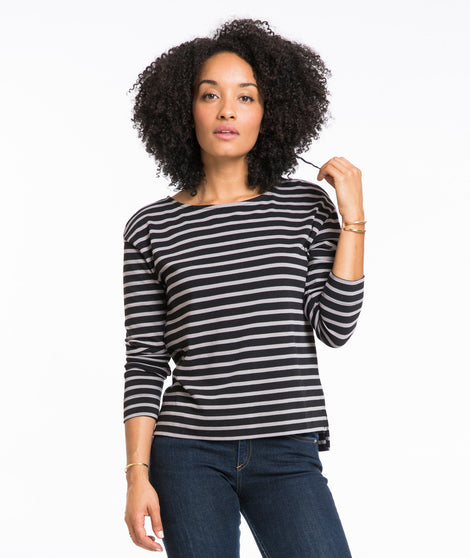 Breton Striped Shirt in Black and Grey