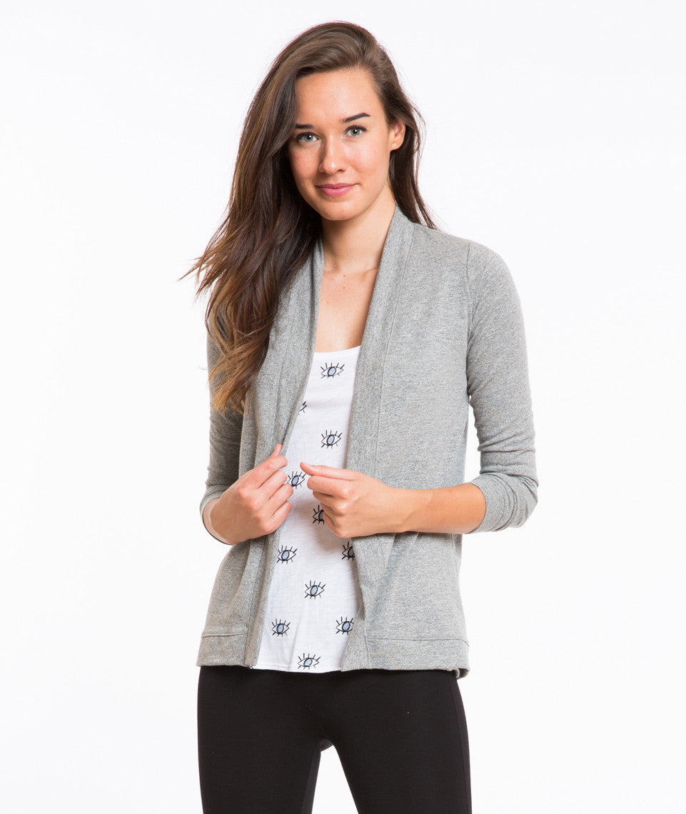 Open Cardigan - Heather Grey Mock Twist