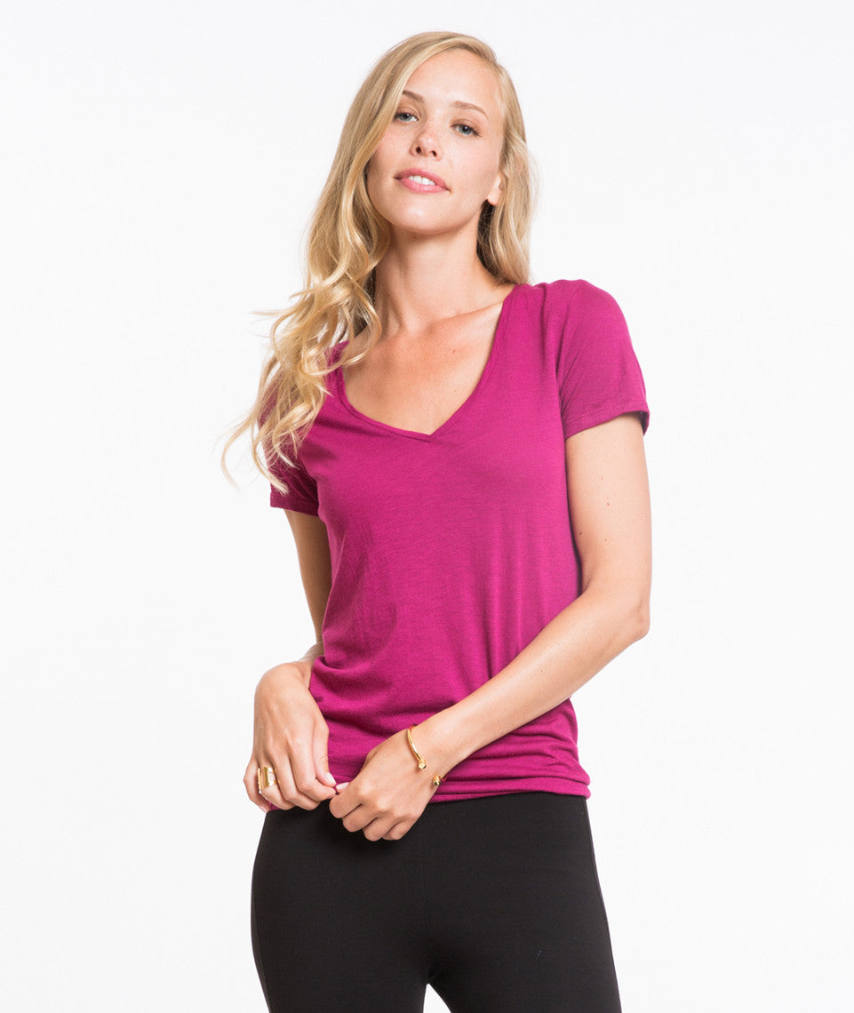 Slub V-neck - Raspberry