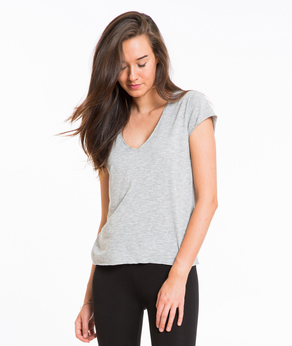 Thin Stripe V-Neck - Grey and White Stripe