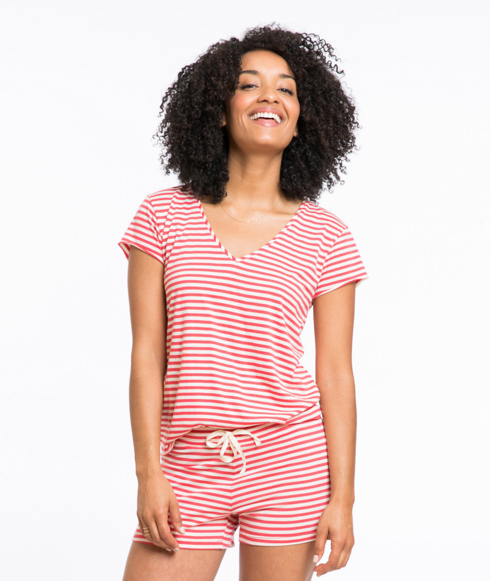 Waldo Stripe Painter's V-neck