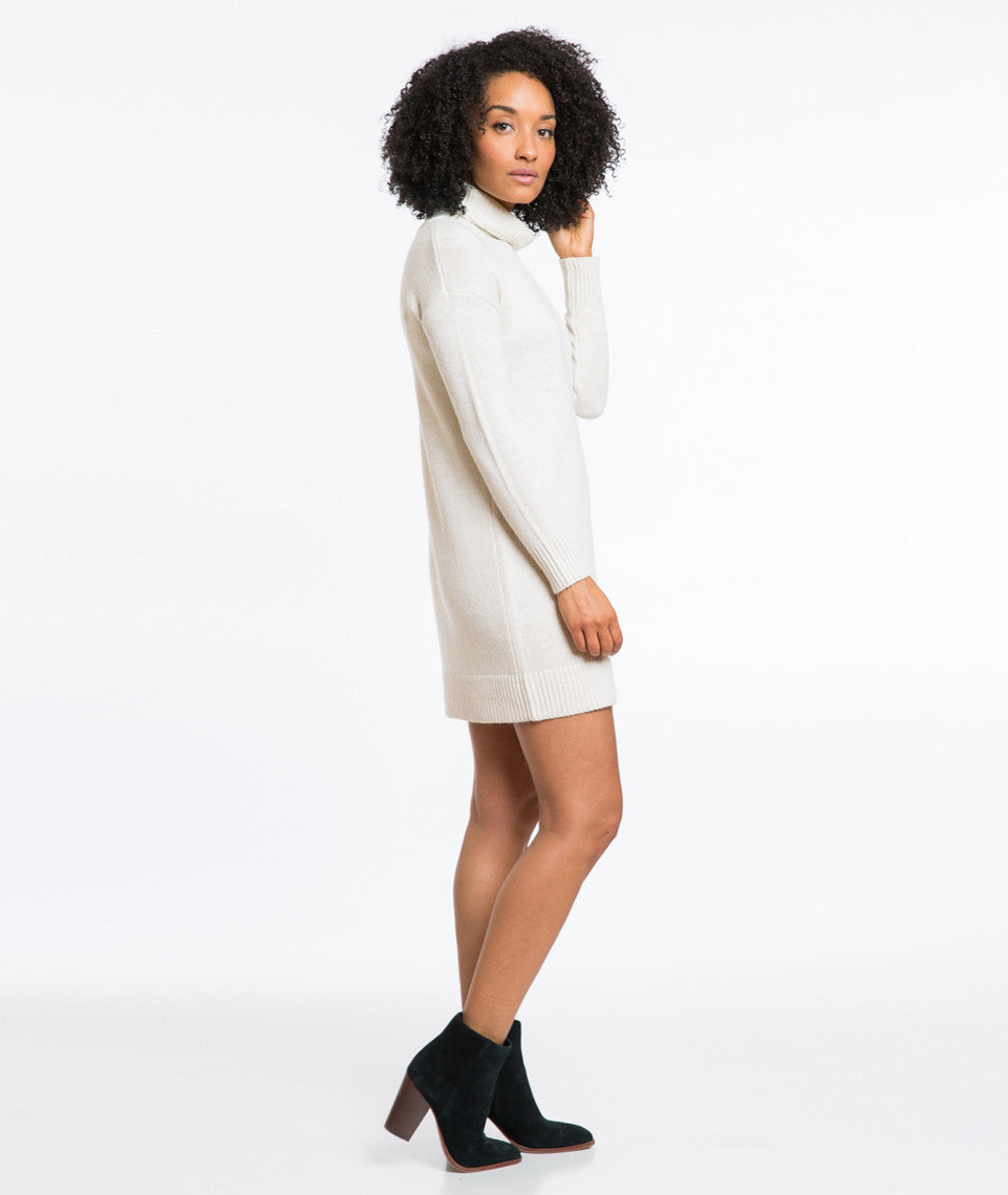 Turtleneck Sweater Dress - Cream