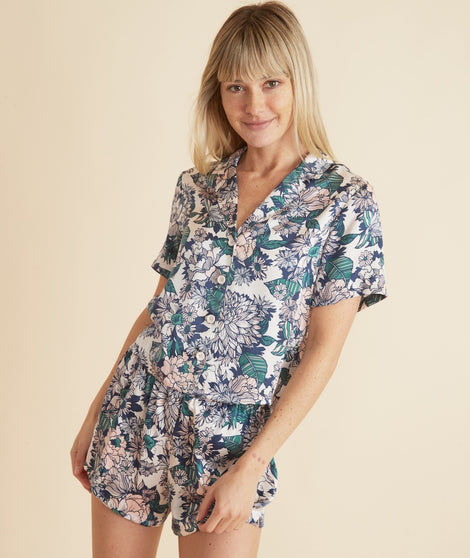 Washable Silk Top in Pearl Tropical Floral Print