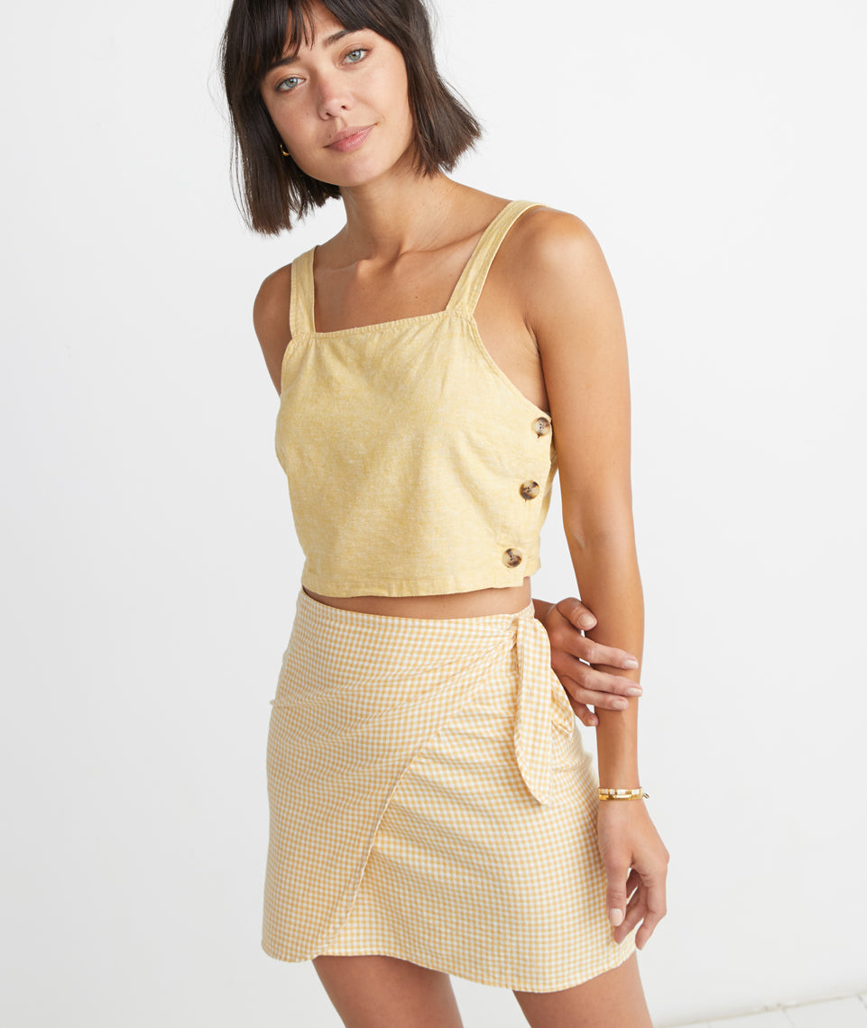 Monaco Wrap Skirt in Yellow Gingham