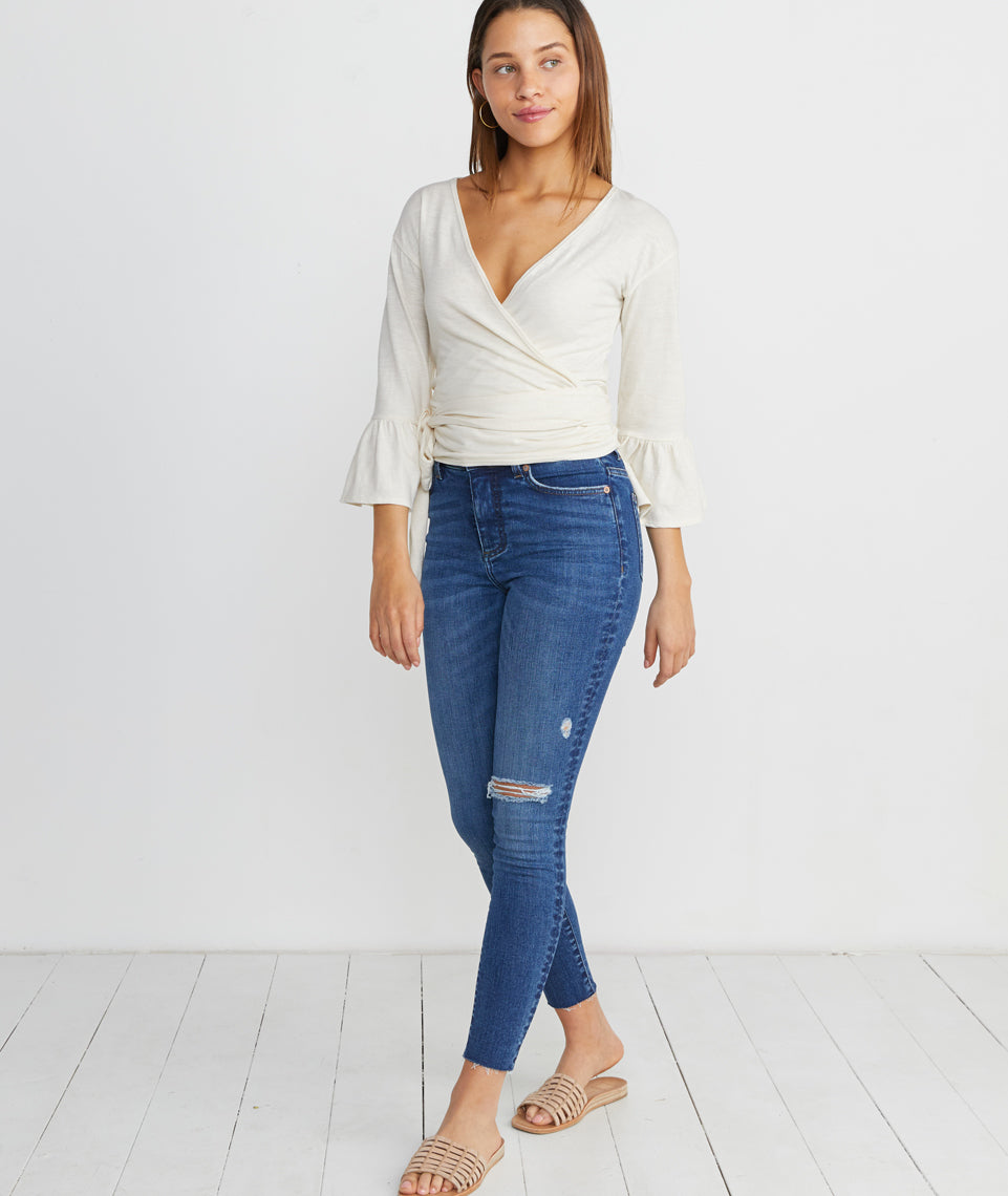 Ava Wrap Top in Antique White