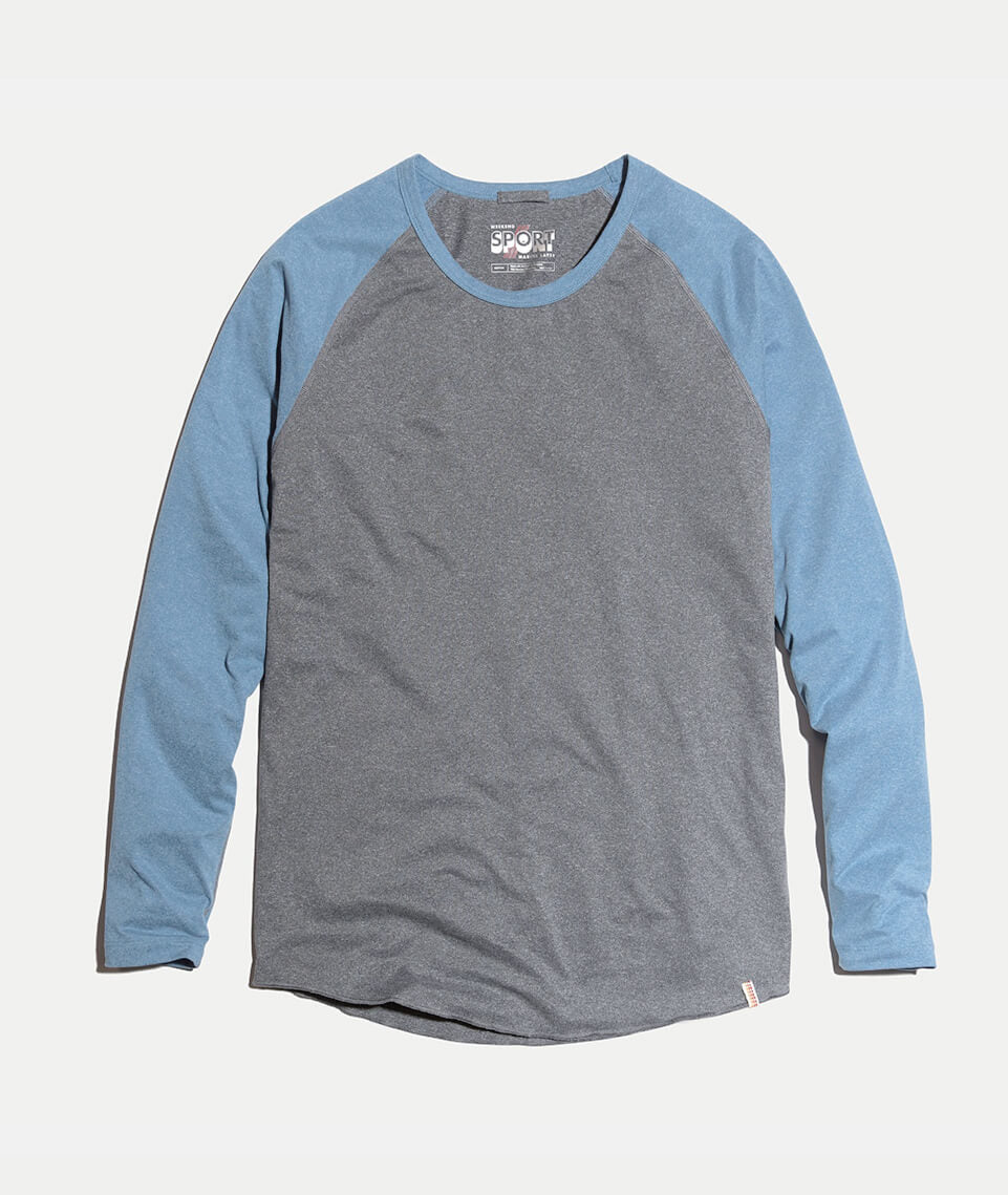 Sport Baseball Raglan in Graphite/Blue