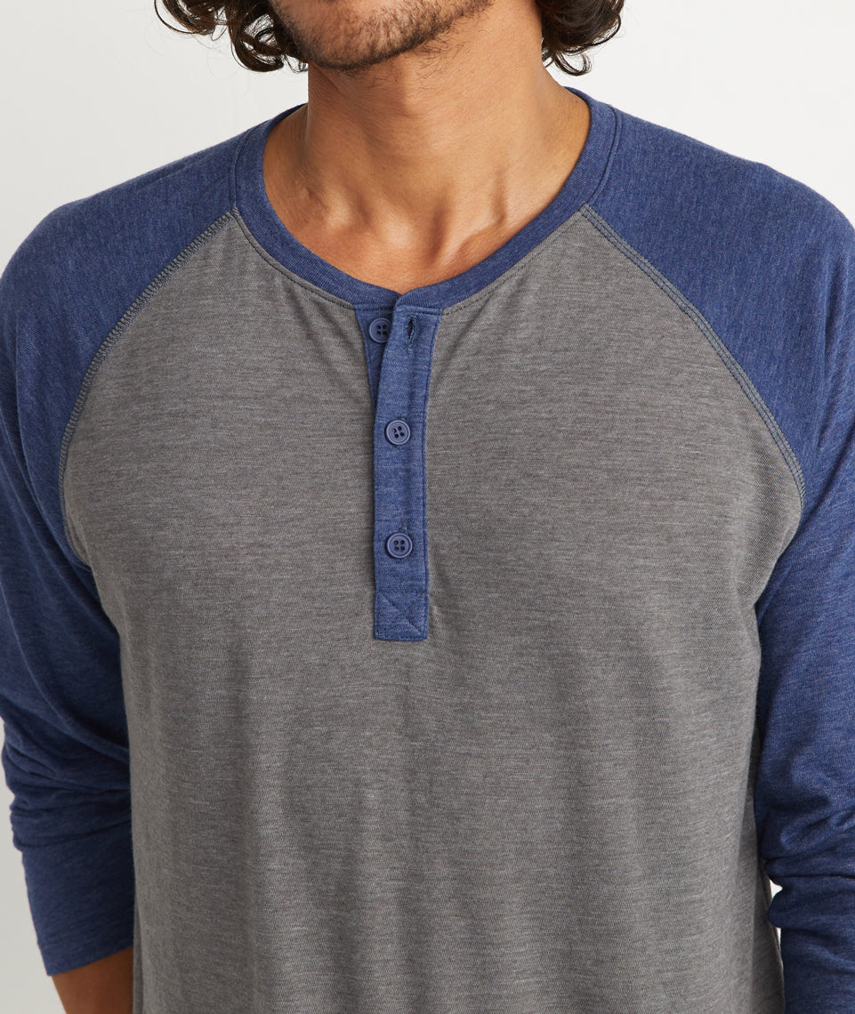 Baseball Henley in Heather Grey/Navy