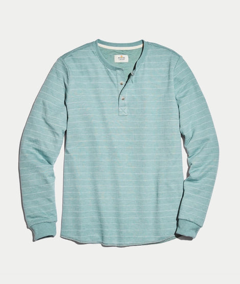 Double Knit Henley in Surf Green