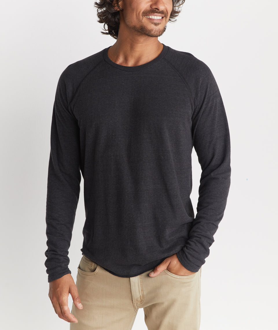 Double Knit Baseball Raglan in Faded Black