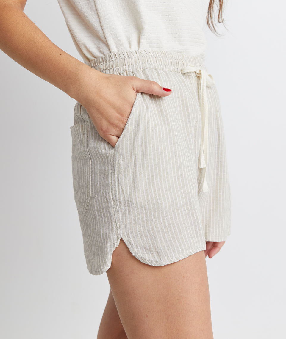 Beach Short in Natural Stripe