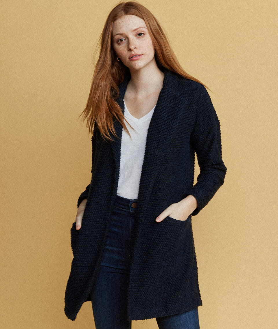 Birdseye Coat in Navy/Jet Black