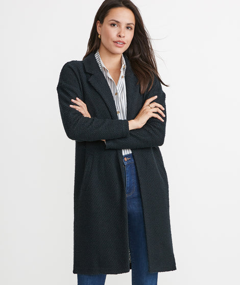 Birdseye Long Coat in Black