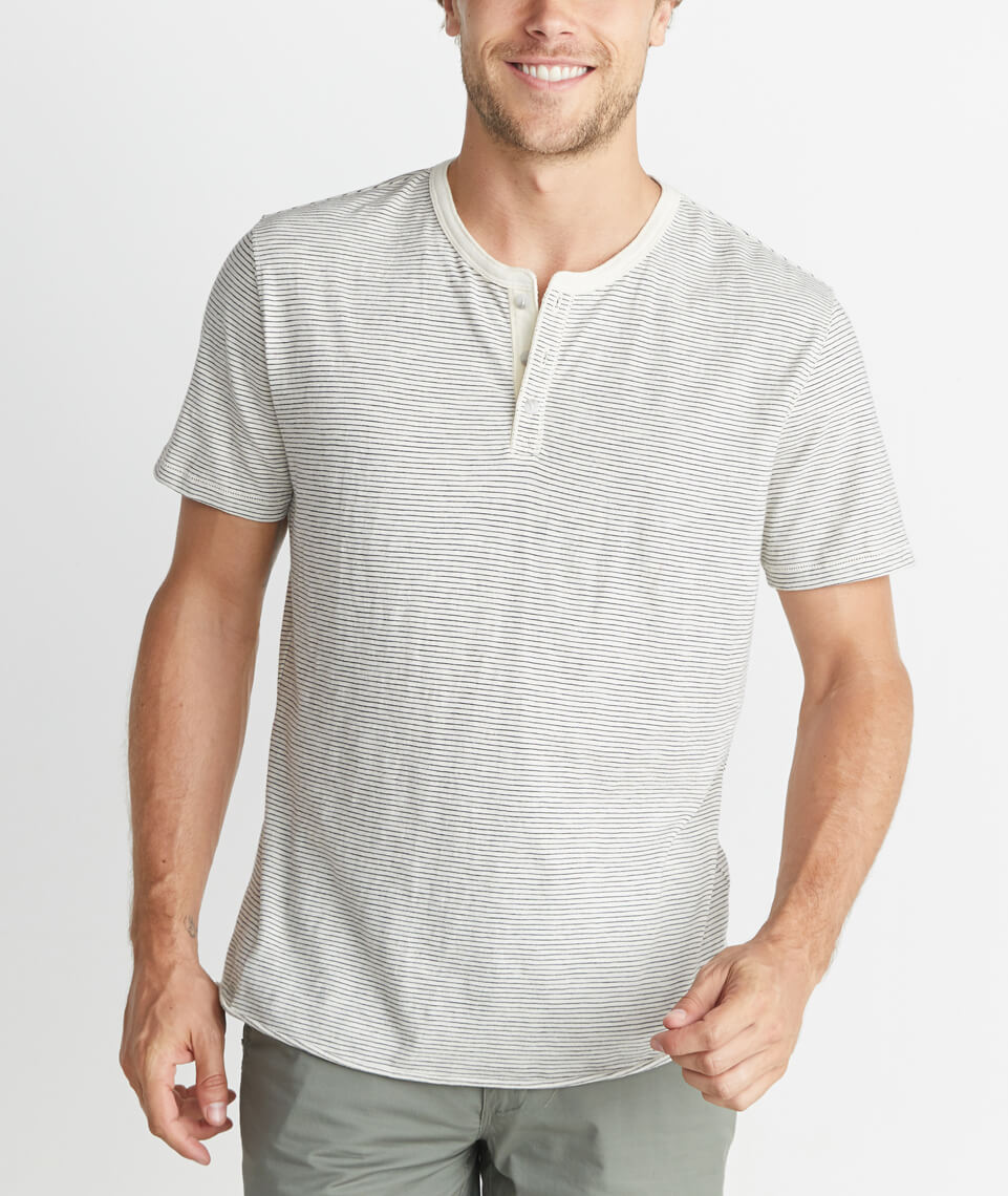 Short Sleeve Henley in Natural Stripe