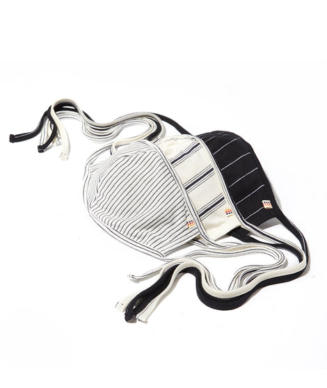 Black and White Stripes Pack Tie Mask