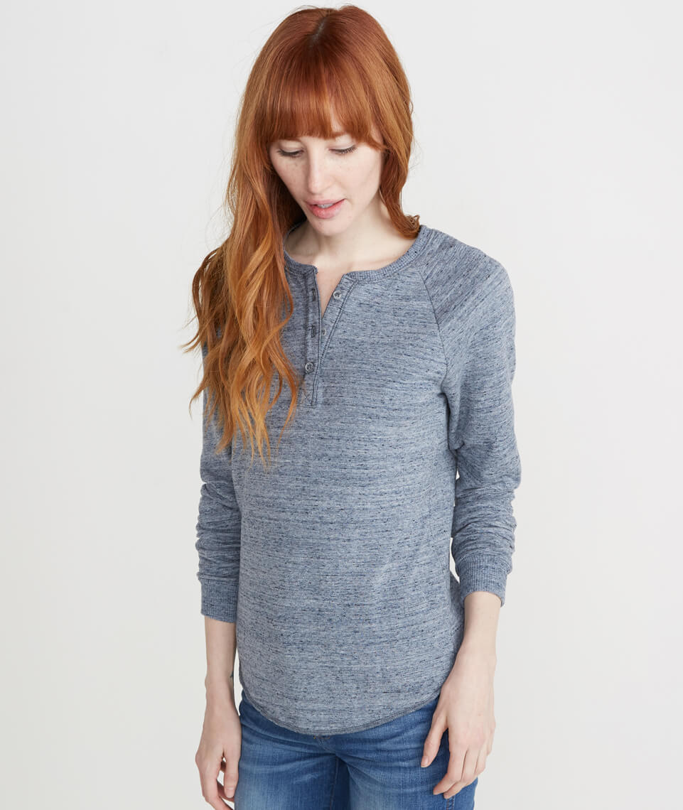 Double Knit Henley in Denim Flax