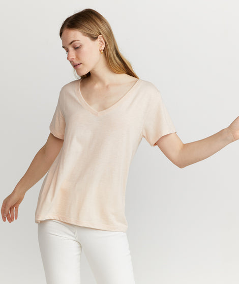 Boyfriend V-Neck in Cream Tan
