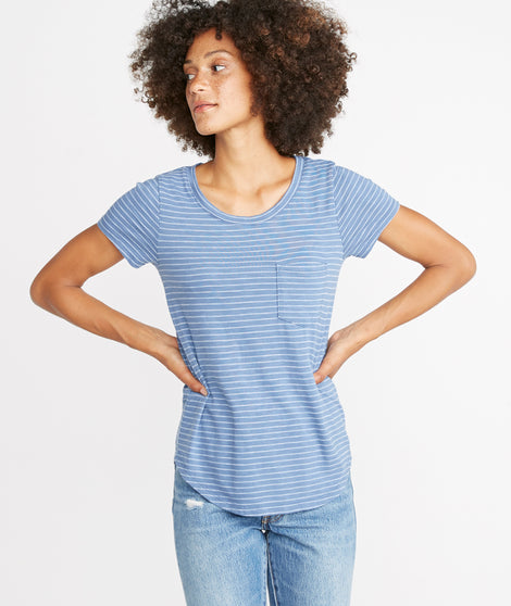 Boyfriend Saddle Tee in Blue/White