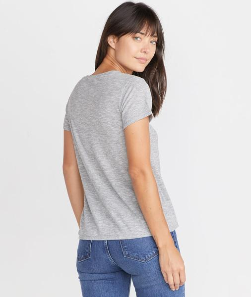 Boyfriend V-Neck in Thin Grey/White Stripe