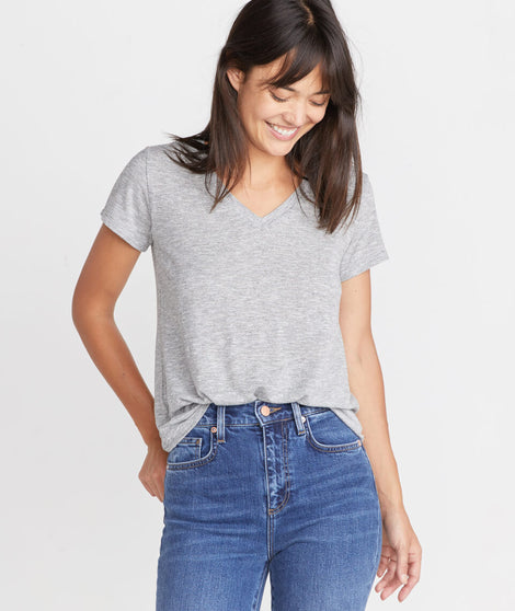 Boyfriend V-Neck in Grey Stripe