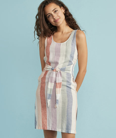 Brea Tie Front Dress in Multi Stripe