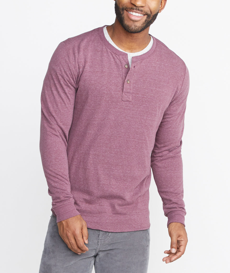 Double Knit Henley in Burgundy