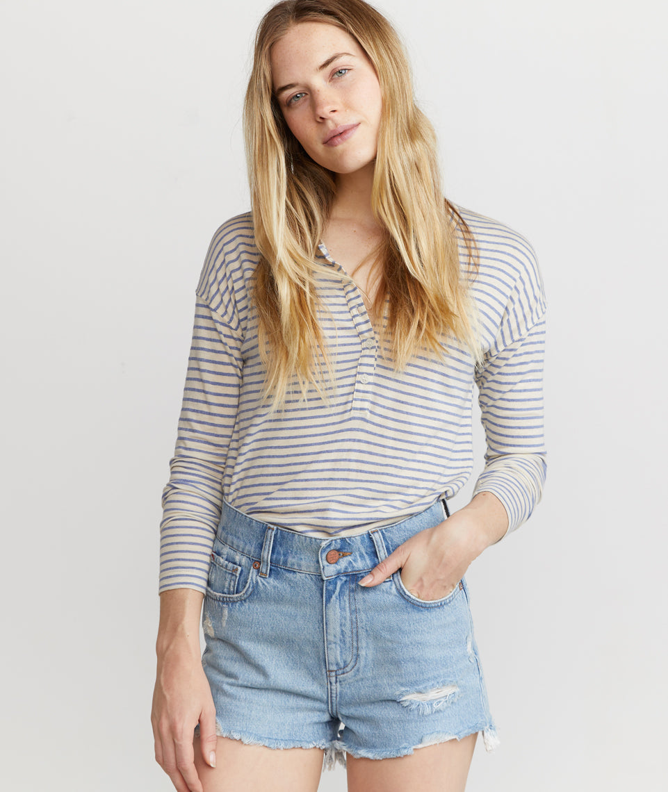 Cait Lightweight Henley in Cream/Blue Stripe