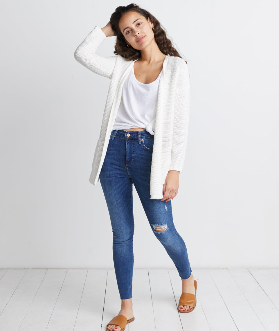Catalina Cardigan in Antique White