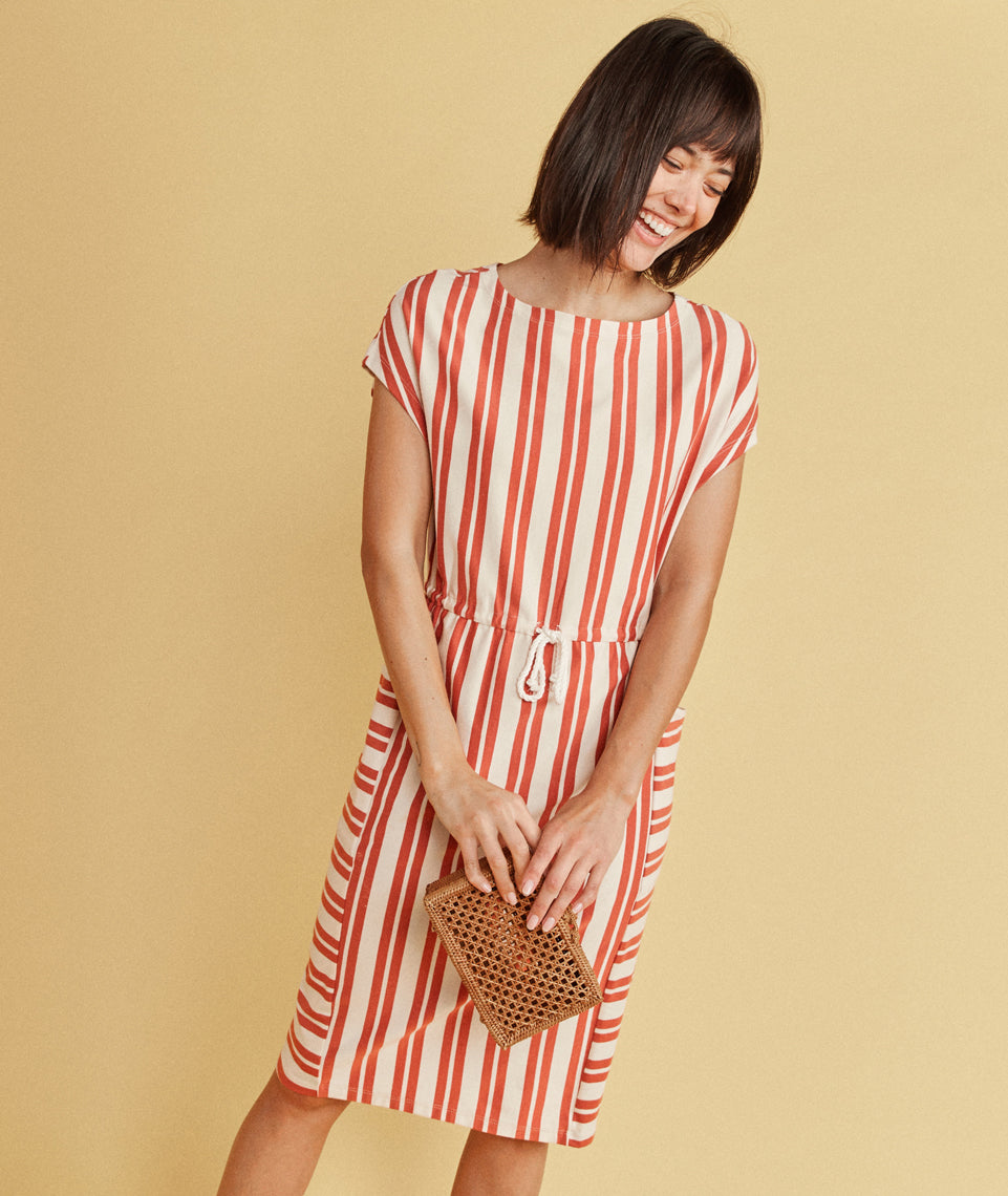 Lola Cocoon Dress in Autumn Glaze/White Stripe