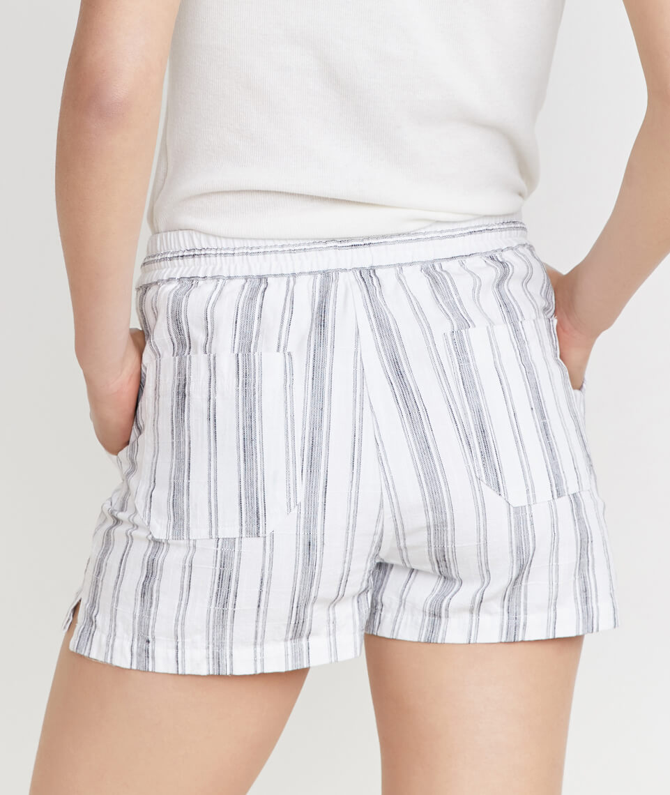 Cipes Beach Short in Ivory/Charcoal Stripe