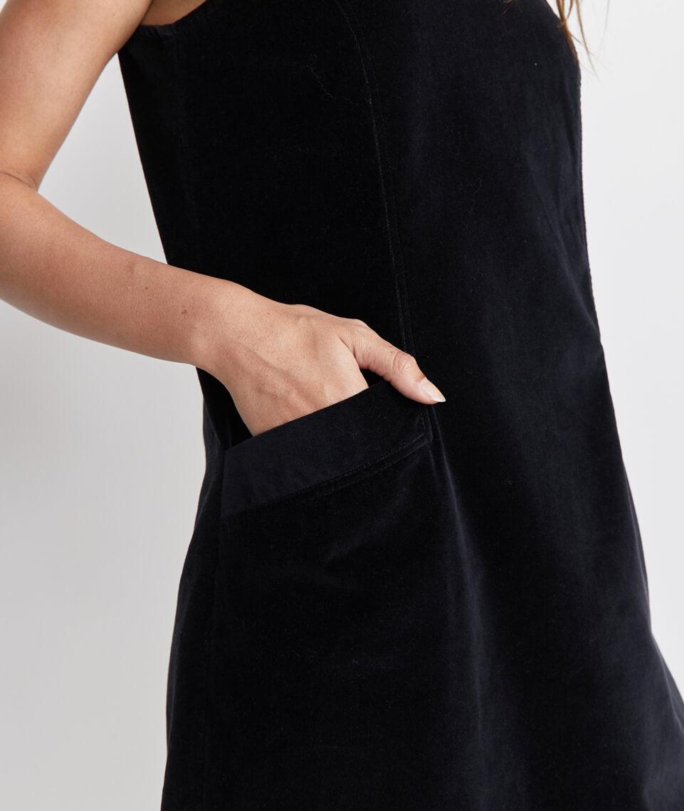 Cizon Velvet Shift Dress in Graphite