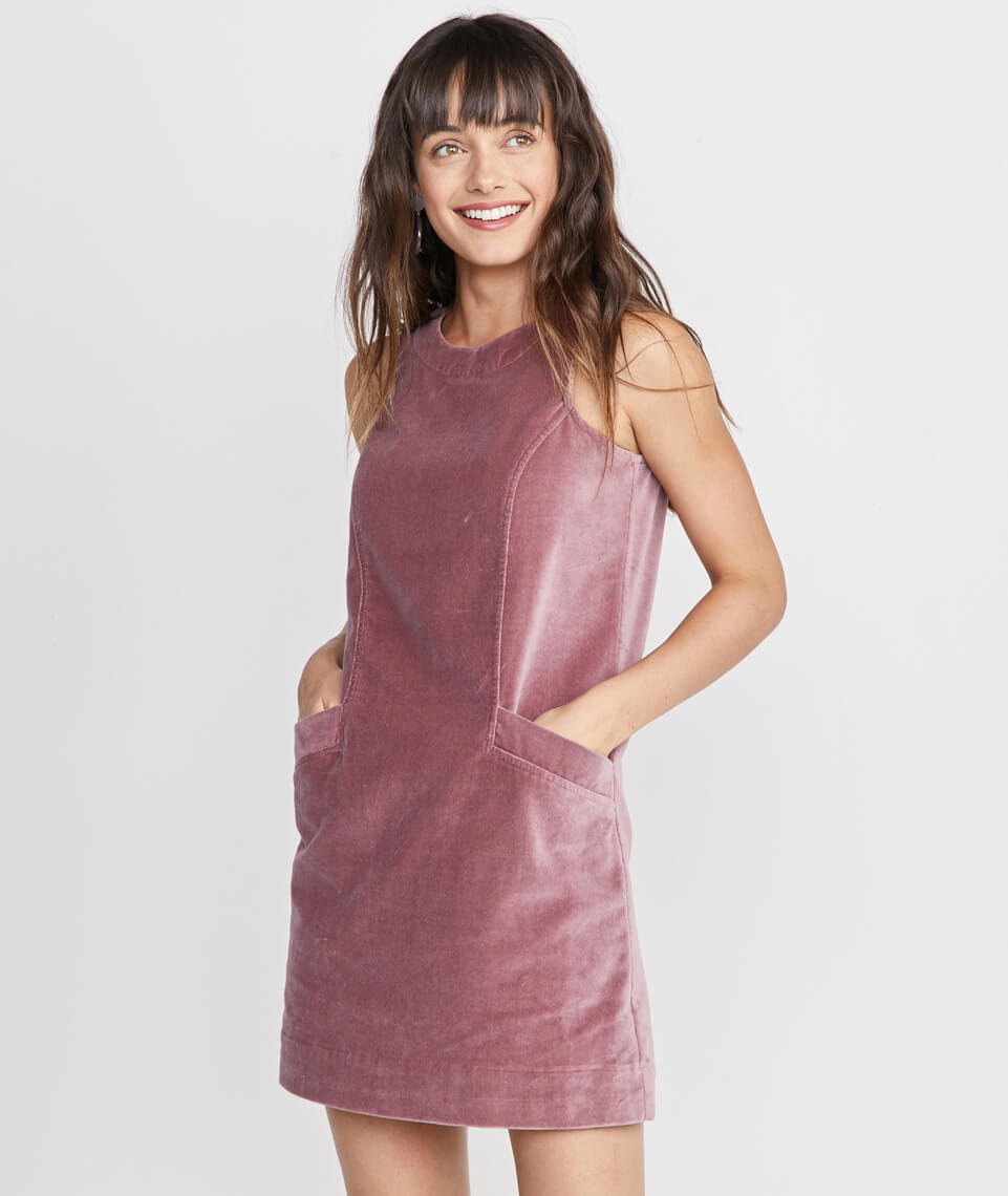 Cizon Velvet Shift Dress in Mauve
