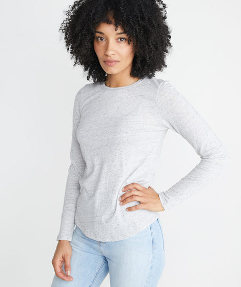 Clover Longsleeve Saddle Tee in Light Heather Ash
