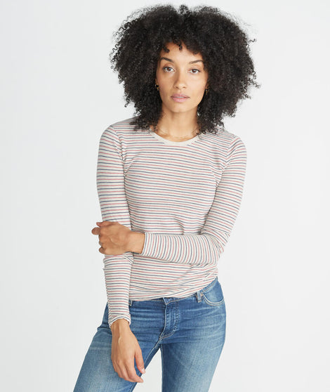 Clover Saddle Longsleeve in Vintage Oat Stripe