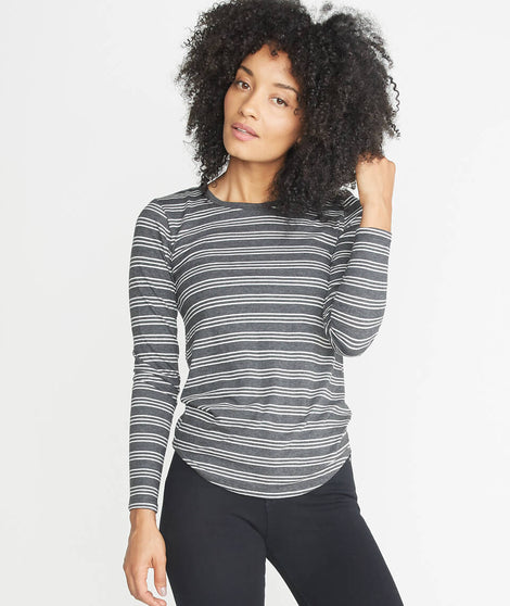 Clover Saddle Longsleeve in Charcoal Stripe