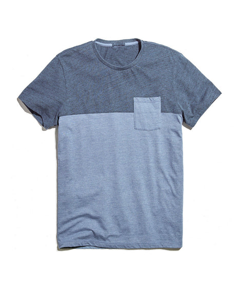 Colorblock Pocket Tee in Vintage Indigo