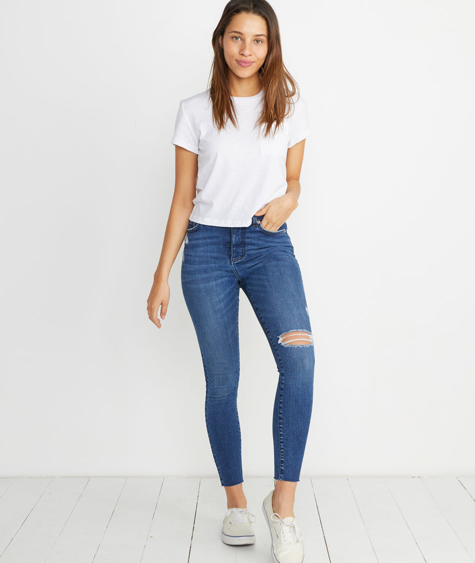 High Skinny Jean in Distressed Medium Wash