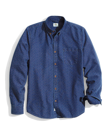 Tailored Fit Chestnut Button Down in Indigo Paisley Print