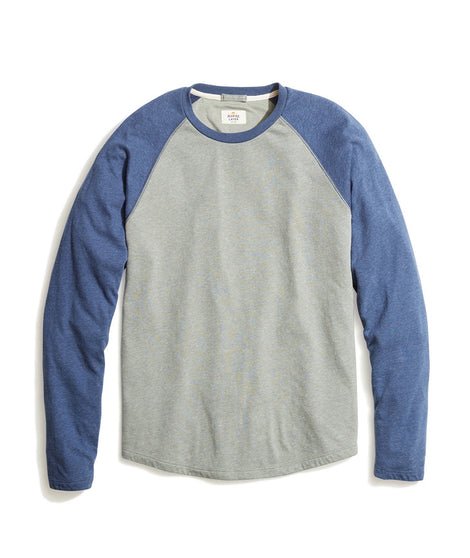 Double Knit Baseball Raglan in Agave Green/Insignia Blue